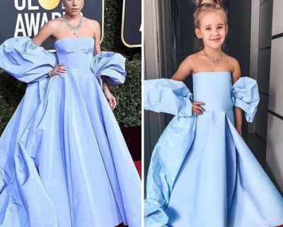 Малко момиче пресъздава бляскави рокли на звездите