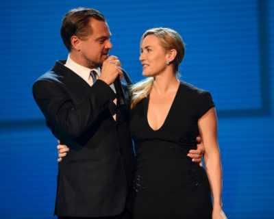 Леонардо ди Каприо и Кейт Уинслет на галавечеря в ...