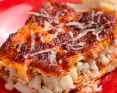 Лазаня с карфиол и сирене чедър