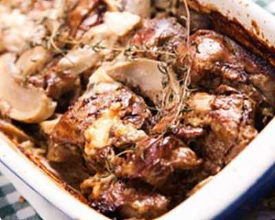 Пилешки дробчета с гъби, майонеза и вино