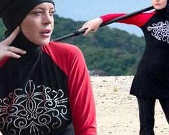 Линдзи Лоън носи буркини на плаж в Тайланд